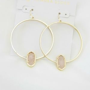 Kendra Scott Elora earrings in rose quartz&gold